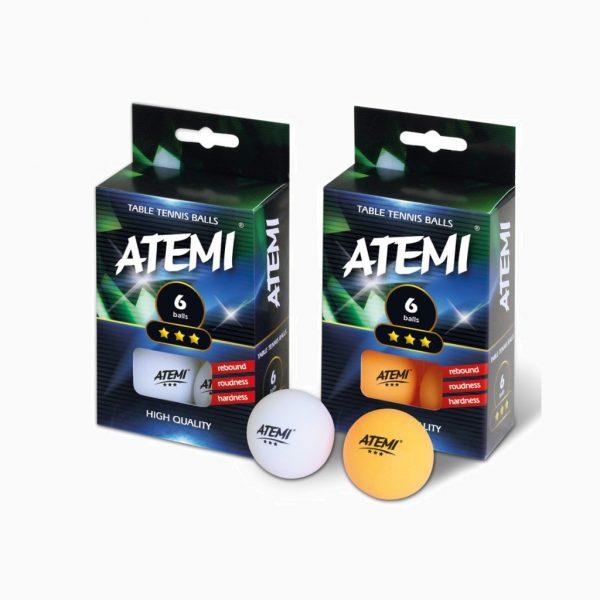 М'ячики для настільного тенісу ATEMI *** 6 штук білі