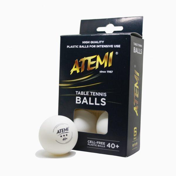 М'ячики для настільного тенісу Atemi 3* 6шт білі 40+